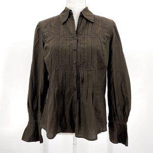Loft Brown Cotton Silk Lace Pleated Button Down